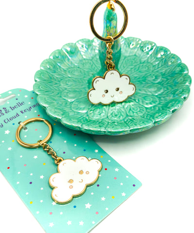 Happy Cloud Enamel Gold Tone Metal Keyring