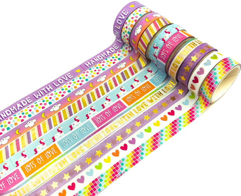 10mm washi tape tapes bright rainbow sentiment unicorn cloud rainbows handmade with love heart uk cute kawaii stationery