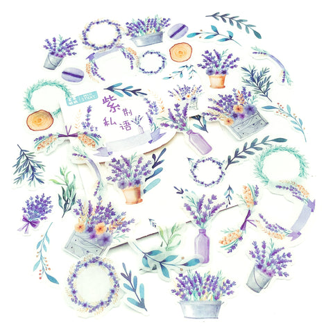 lavender harvest translucent floral sticker flakes stickers uk cute stationery flowers purple lilac flower basket leaf