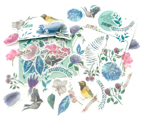 floral flowers birds bird matte translucent sticker flakes pack of 40 die cut uk stickers cute stationery leaves leaf