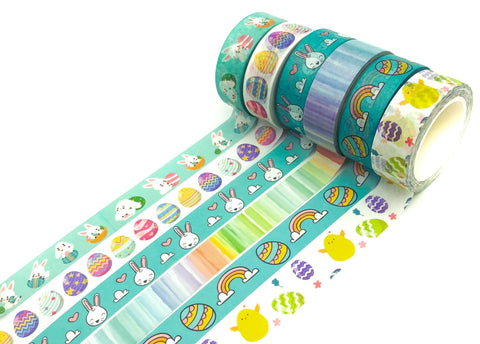 easter spring washi tape uk cute kawaii stationery eggs bunny bunnies turquoise rainbow chick stripe