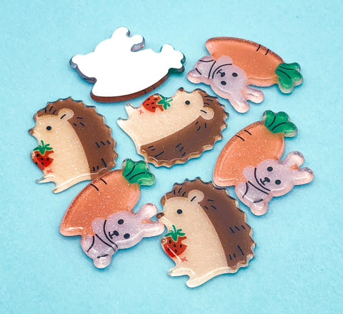 bunny rabbit or hedgehog hedgehogs acrylic glitter fb fbs flatback flat back backs carrot rabbit rabbits glittery uk cute kawaii craft supplies