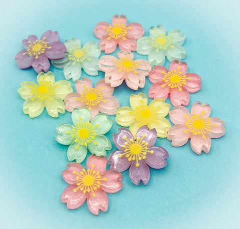 cherry blossom acrylic flower fb flatback fbs resin cabochon uk cute kawaii floral craft supplies easter flowers
