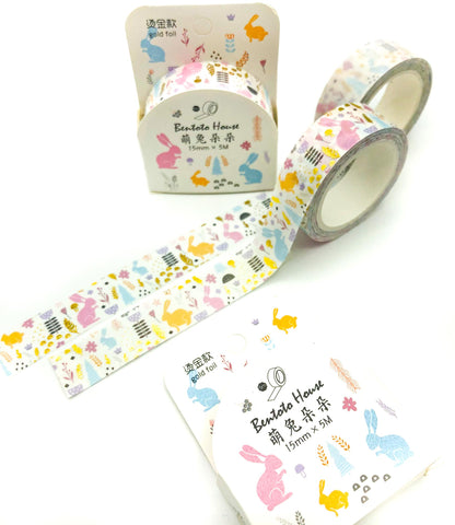 bunny rabbit spring easter box boxed washi tape cute kawaii rabbits bunnies tape uk stationery floral flowers 5m