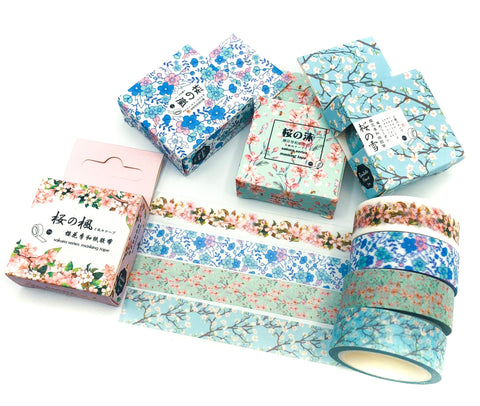 cherry blossom floral spring flowers 7m box boxed washi tape blue pink blossoms cherry trees uk cute kawaii stationery