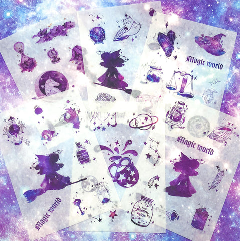 magic world translucent sticker sheet magical witch spells potion gems crystal stars purple uk cute kawaii stationery stickers