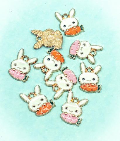 bunny and carrot easter spring cute gold tone charm charms metal enamel uk cute kawaii craft supplies rabbit rabbits white