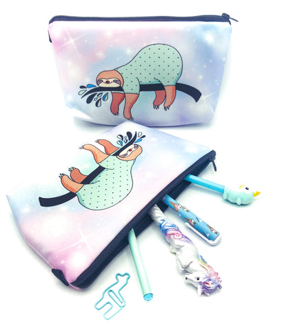 pastel ombre sloth roomy large fabric cosmetic bag pencil case sloths cute kawaii uk gifts