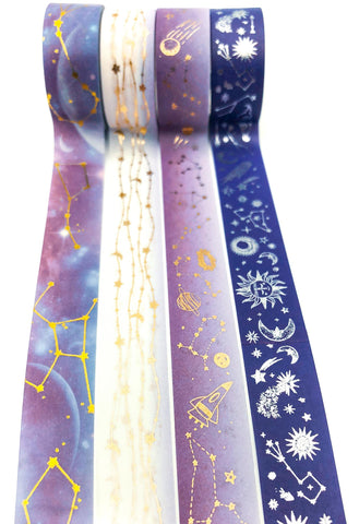 galaxy constellation purple and blue washi tape foiled foil gold silver space theme uk cute kawaii tapes stationery