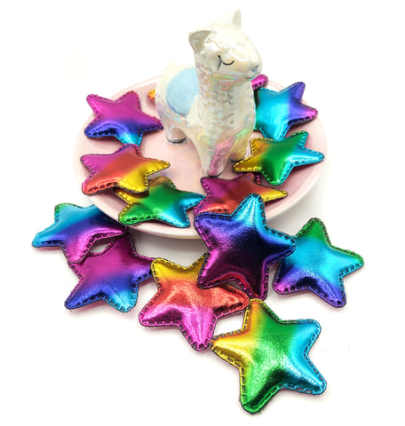 rainbow ombre metallic star sew glue on applique patch stars 45mm