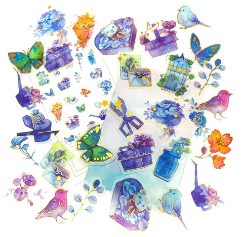 dream garden translucent foiled sticker flakes pack of 40 magical flower bird butterfly bright colours pretty uk stationery kawaii cute