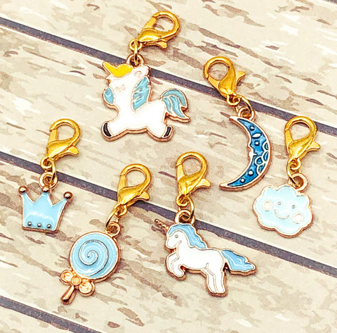 blue enamel enamelled charm charms clip clips unicorn sweet lollipop moon cloud uk gift gifts