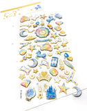 crystal puffy sticker stickers transparent pack gold foil foiled cinderella princess