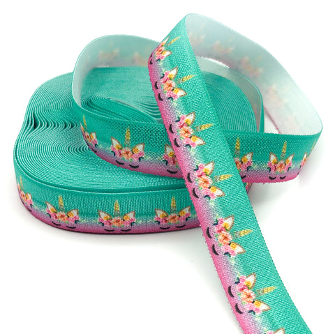 teal and magenta elastic unicorn heads ribbon 15mm wide one yard