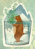 cute brown bear and winter snow in mug cute teacup postcard post card cards uk kawaii stationery store pretty animal animals