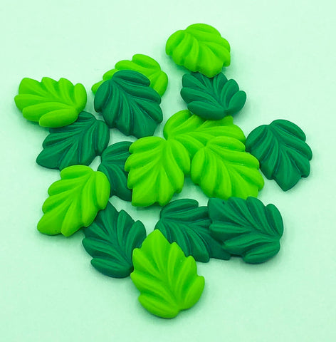 green leaf leaves resin flatback flat back fb uk cute kawaii embellishments craft supplies