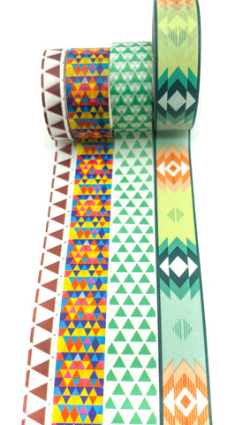 aztec geometric inspired washi tape bundle of 4 kawaii uk stationery bundles tapes geo