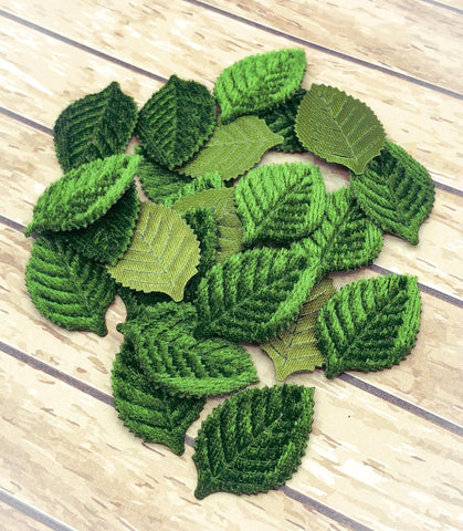 green leaf leaves applique appliques velvet soft fabric sew on patch uk cute kawaii craft supplies