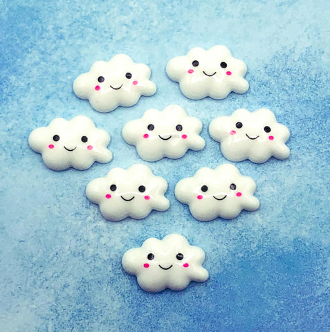 happy smiling cloud clouds resin fb flatback flat back backs uk cute kawaii embellishment craft supplies