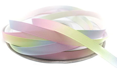 narrow 10mm pastel rainbow ombre grosgrain ribbon one yard