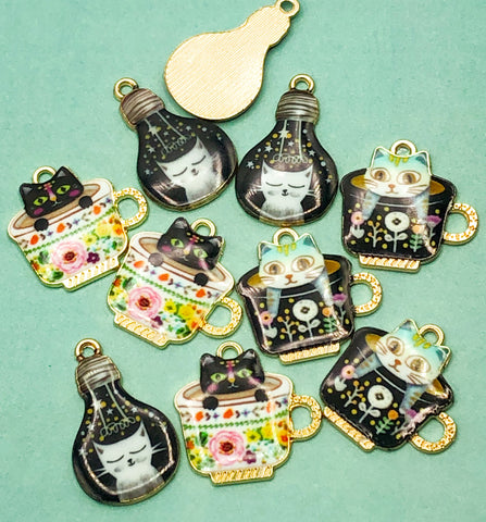cat enamel charm kawaii cats charms metal gold tone light bulb tea cup cups