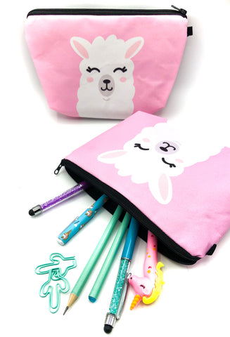 pink happy llama large fabric cosmetic bag pencil case alpaca