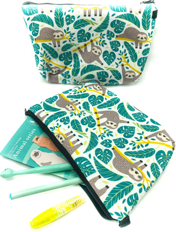 jungle sloth green roomy pencil case cosmetic bag bags sloths