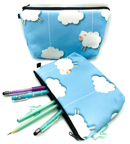 white sheep and fluffy clouds blue fabric large cosmetic bag