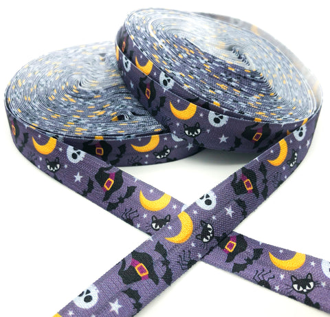dark grey halloween elastic foe ribbon black cats moon yard
