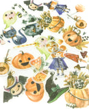 halloween sticker pack of 40 flakes witches and pumpkins black cats