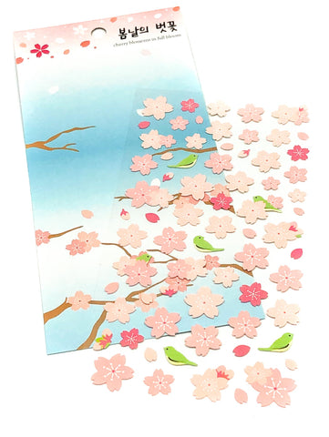 cherry blossom clear pretty  sticker pack sheet floral flowers spring pink blossoms uk cute kawaii stationery