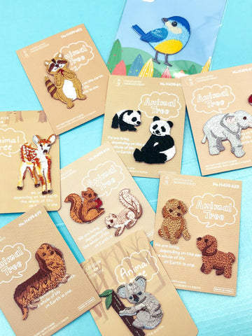 cute animal iron on applique fabric patch patches gift gifts squirrel dog dogs raccoon raccoons panda pandas elephant elephants blue tit birds bird deer uk cute kawaii craft supplies