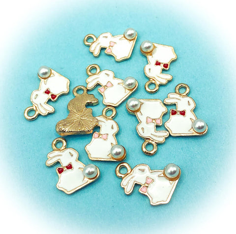 bunny rabbit and pearl spring gold tone enamel charm red pink bow uk cute kawaii charms craft supplies