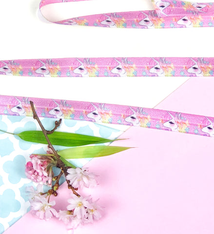 lilac pink unicorn elastic ribbon foe ribbons elastics unicorns kawaii cute craft supplies uk