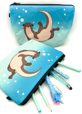 turquoise otter and bubbles otters large fabric cosmetic bag or pencil case