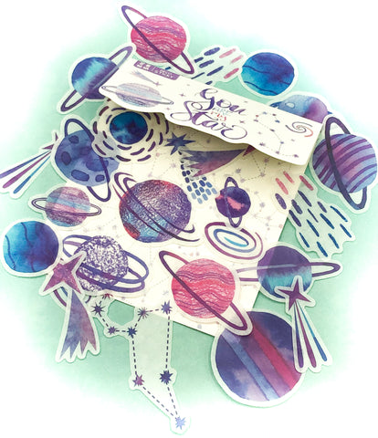 planets shooting stars star planet planets milky way galaxy translucent sticker flakes flake stickers pack stationery