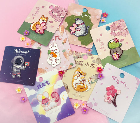 iron on applique embroidered embroidery patch patches appliques pack gift gifts animal dog cat rabbit bunny bird birds astronaut space man cherry blossom floral uk kawaii cute