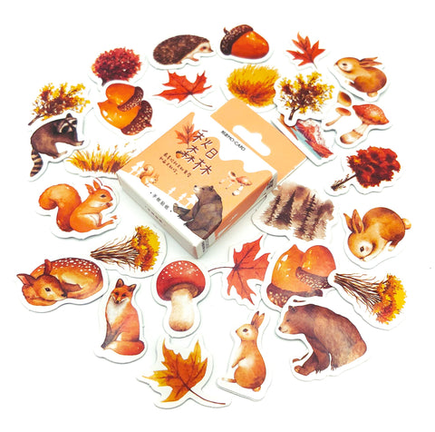 autumn wood woodland animals and plants cute kawaii sticker flakes stickers box mini pack of 46 uk stationery