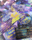 journey to the stars galaxy sticker flakes sticker pack of 60 large foil gold foiled journalling quotes quote sky space uk cute kawaii stationery