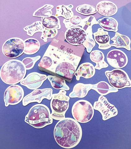 universe galaxy planets pastel colours sticker flakes box of 50 stickers uk cute kawaii stationery