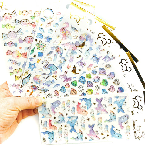 crystal puffy gold foiled sticker pack planner stickers stationery kawaii