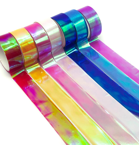 laser clear coloured washi tape shimmer lazer holographic transparent uk cute kawaii washi tape stationery