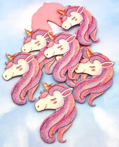 large glitter unicorn head patch felt applique unicorns ab iridescent patches pink lilac big kawaii craft