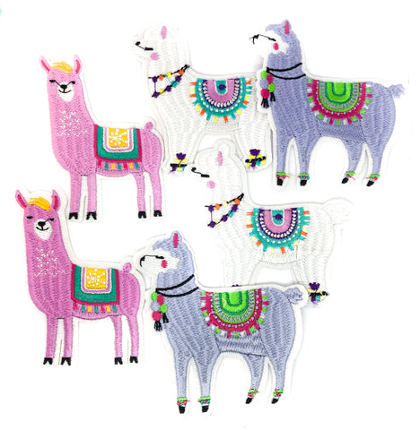 llama alpaca iron on fabric patch applique llamas alpacas pink white lilac patches uk cute kawaii craft supplies sewing glue sew on appliques patches
