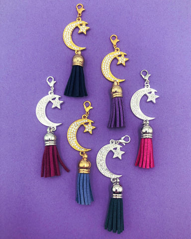 large sparkly crescent moon and star tassel planner clip clips charm charms uk planning accessories silver gold rhinestone