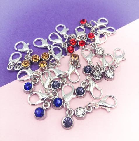 small planner charm clip clips charms gem gemstone birthstone sparkly red blue clear grey gold silver tone metal accessories uk gifts stitch marker markers