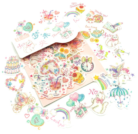 happy things translucent sticker flakes stickers uk kawaii pastel cat cats rainbows balloons party hearts magic cute