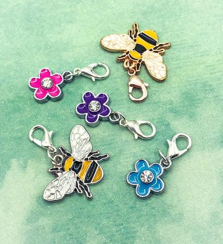 cute kawaii planner charm charms clip clips bee bees flower flowers gold silver metal uk gift gifts planning accessory
