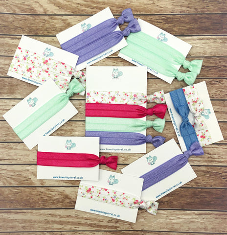 spring rose hair tie ties pastel elastics elastic floral flowers uk cute kawaii gift gifts bow bows accessories roses pink lilac lavender mint
