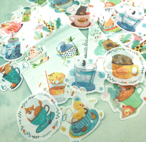 tea cup animals cute kawaii translucent tracing paper style sticker flakes pack of 40 fox cat pig dog giraffe uk kawaii stationery